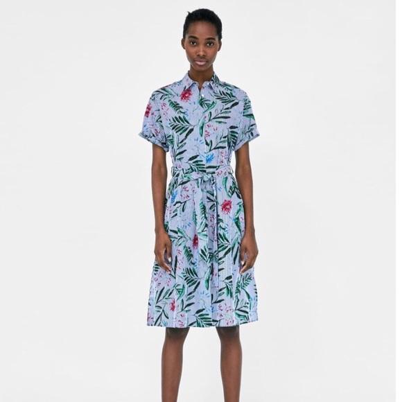 a505ada3 Zara Dresses | Nwot Striped Floral Midi Pocket Shirt Dress | Poshmark